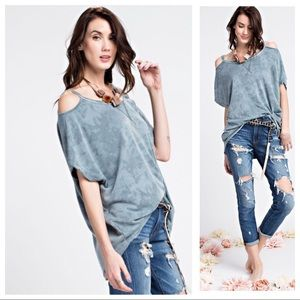 PATTIE-Relaxed Washed Terry Knit Cold Shoulder Top